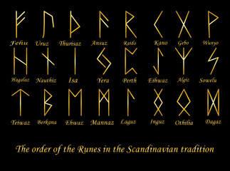 Vector illustration of golden rune metal runes symbols on a black background.