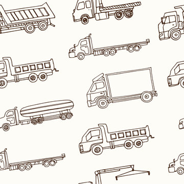 Hand drawn doodle truck seamless pattern