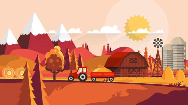Flat Vector Farmland Landscape Illustration in Autumn. Countryside Vector Background.