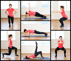 Active young woman exercising