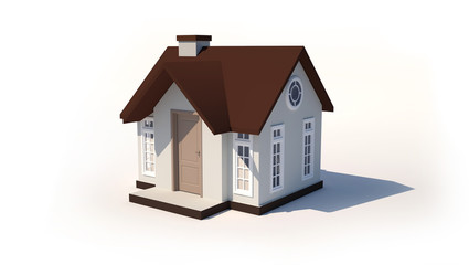 3d small house isolated white background.