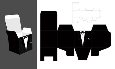 Tuxedo - printable  square packaging with lid. Groom - wedding favor box. 