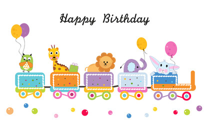 Happy birthday train with animals vector. Colorful greeting card