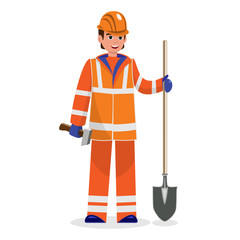Builder foreman in orange overalls and safety helmet holding shovel and hammer in his arms on white background