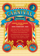 Carnival party vector invitation. Funfair template. Birthday carnival party poster with masks and vintage ribbon.