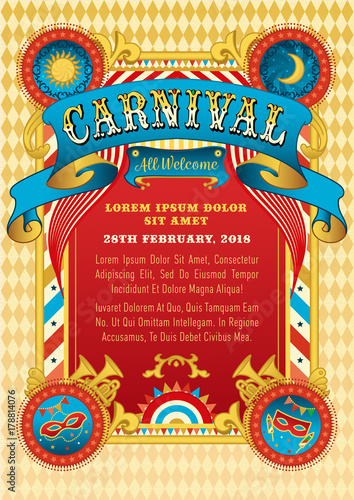 Carnival party vector invitation funfair template birthday carnival party vector invitation funfair template birthday carnival party poster with masks and vintage stopboris Images
