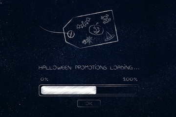 promotion loading progress bar and price tag with Halloween icons