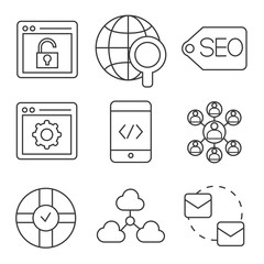 network, seo and social media icons