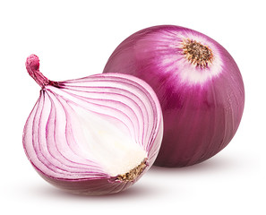 Red onion with cut in half isolated on white background.