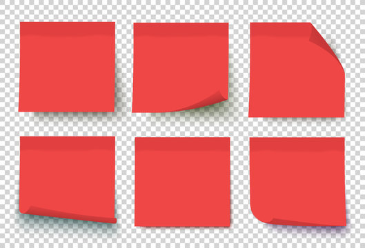 Red post note set vector. Notes with curled corners isolated on transparent background. Sticky note collection.