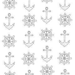 Hand drawn vector coloring book illustration seamless pattern background of seafaring with anchor and steering wheel with outline on white