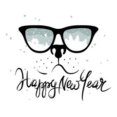 "Dog in the glasses in which winter is reflected / Funny christmas hand drawing calligraphy ""Happy New Year"""