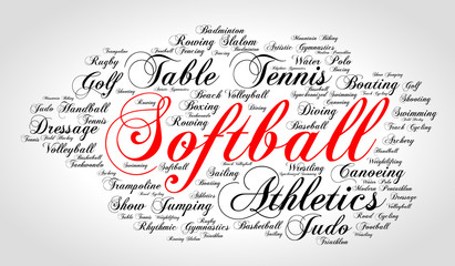 Softball. Word cloud, italic red font, grey gradient background. Summer sports.