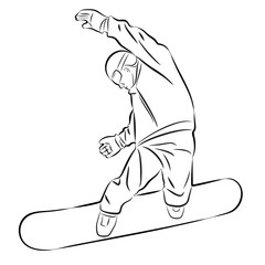 illustration of a snowboarder , vector draw