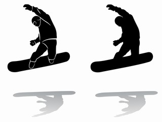 silhouette of a snowboarder , vector draw