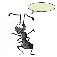 cute ant and white background and speaking