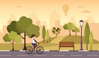 City autumn park vector background with sport woman bike