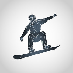 snow boarding vector logo icon illustration