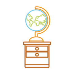 geography tool on the desk icon over white background vector illustration