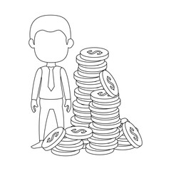 businessman with coins avatar character