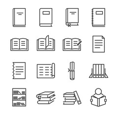 Books line icon set. Included the icons as book, study, learn, education, paper, document and more.