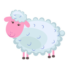 Cute sheep Cartoon Flat Vector Sticker or Icon