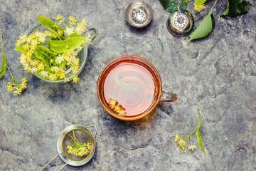 linden tea. Selective focus.
