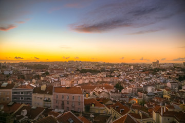 Lisbon panorama in the envening right after sunset