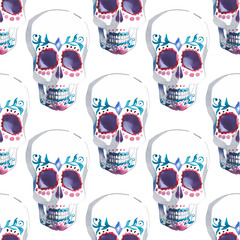 Beautiful bright wonderful graphic artistic abstract cute halloween stylish skulls watercolor hand illustration. Perfect for textile, wallpapers, wrapping paper, cards, invitations