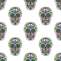 Day of The Dead colorful Skull with floral ornament. Seamless pattern. Mexican sugar skull. Vector illustration