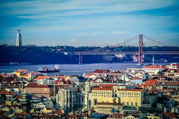 Panorama of the european city Lisbon, capital of Portugal