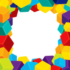Colorful Cubes Frame Geometrical background Vector