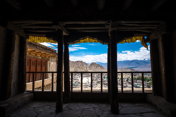 View through the window of Leh Palace in Leh district, Ladakh, in the north Indian state of Jammu and Kashmir.