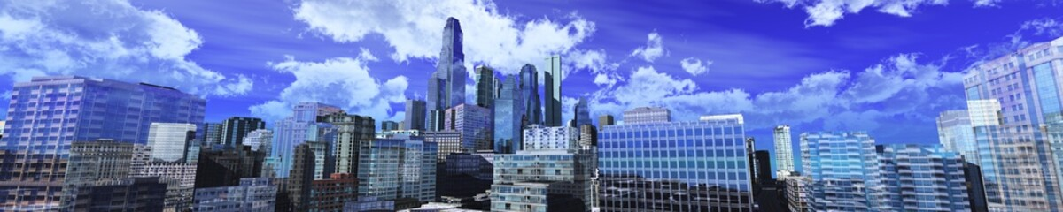 panorama of a modern city, a beautiful city against a sky with clouds, banner, 3d rendering