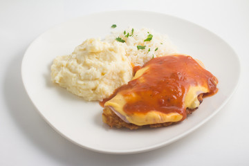 Chicken Fillet with rice and Mushed Potatoes. Parmegiana Fillet