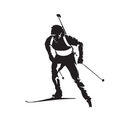 Biathlon racer, abstract vector silhouette, winter sport