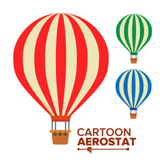 Aerostat Balloon Vector. Vintage Transport. Hot Air Balloons. Cartoon Flat Isolated Illustration