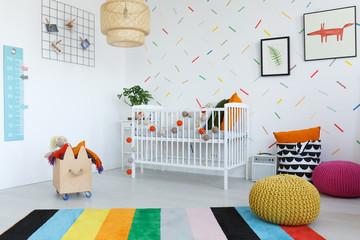 Colorful carpet in kid's bedroom
