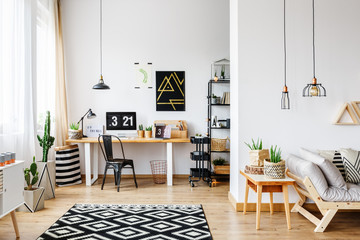 Spacious workspace with scandi carpet