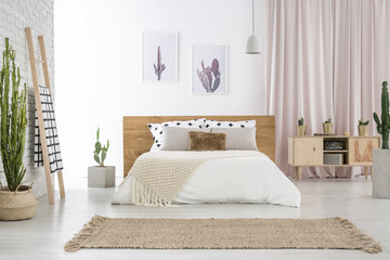 Spacious bedroom with cactus motif