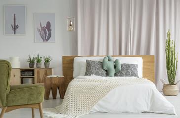 King-size bed in vintage bedroom