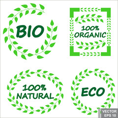 Sticker. Bio. Eco. Natural product. Organic. Green. For your design.