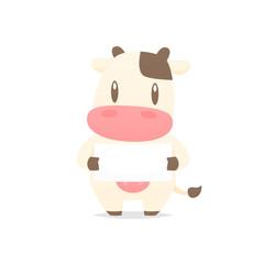 Cartoon cow holding blank banner vector