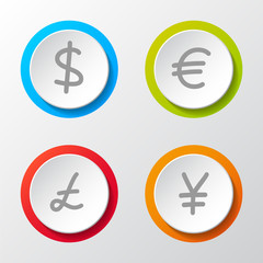 Collection of icons of different currencies. Vector.