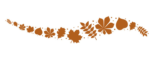 Banner with brown leaves - panoramic header. Vector.