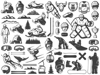 Vintage Winter Sport Games Icons Collection