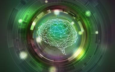 イラスト素材: 脳と人工知能グリーン、AI