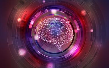イラスト素材: 脳と人工知能レッド、AI