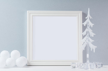 empty white frame in a winter scene