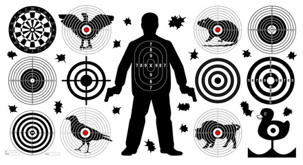 Target for shooting set, man with arms, shoot gun aim animals people man isolated. Sport Practice Training. Sight, bullet holes. Dartboard, archery. vector illustration.